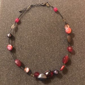 Lia Sophia Silver Chrome Pink Beaded Necklace